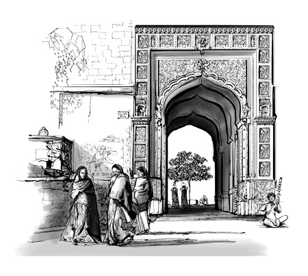 India, Rajasthan - Jaisalmer - Vector illustration  イラスト・ベクター素材