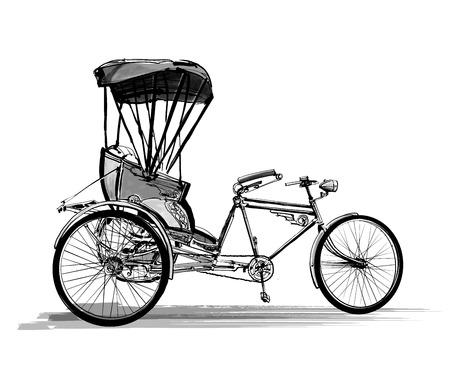 trishaw: Indian rickshaw cycle - vector illustration Illustration