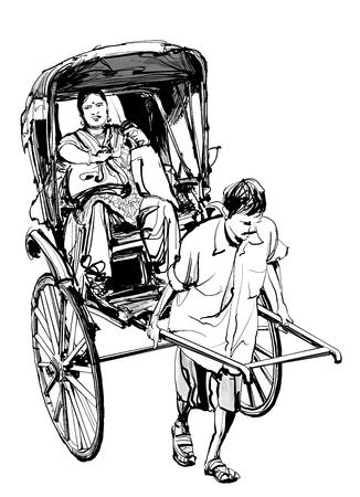kolkata: Kolkata, India - drawing a rickshaw with a passenger - vector illustration