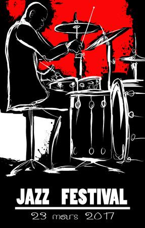 Jazz festival Poster with drummer - vector illustration Illusztráció
