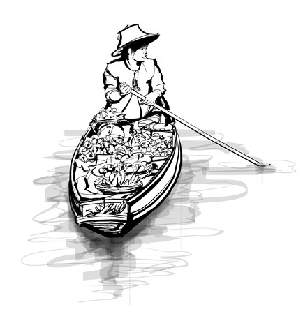 Boat in a floating market in Thailand - vector illustration Vectores
