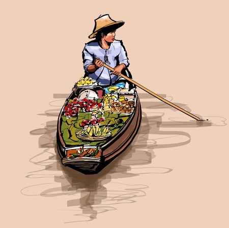 Boat in a floating market in Thailand - vector illustration Vettoriali
