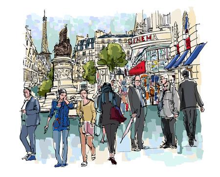 personas en la calle: Personas en una calle de París - ilustración vectorial