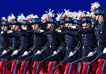 defile: Paris, France , Day Military Parade, 14 July - vector illustration Illustration