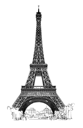 Wieża Eiffla samodzielnie, bardzo SZCZEGÓŁOWY - ilustracji wektorowych