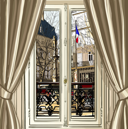window opening: France, Paris, window opening on a street - vector illustration