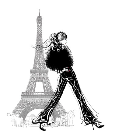 fashionable: Fashion model by Eiffel tower - vector illustration