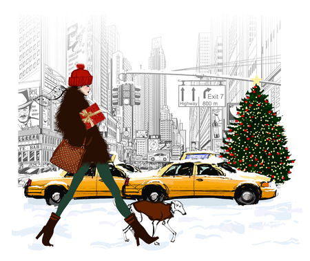 Young fashionable woman shopping in New-York for Christmas - vector illustration