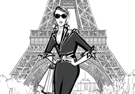creative arts: Fashion model by Eiffel tower - vector illustration