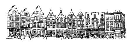 old square: Belgium, Bruges - old brick house on the Grote Markt square - vector illustration