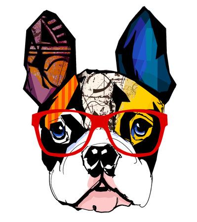 dibujo: Retrato de las gafas de sol que llevaba bulldog francés - ilustración vectorial