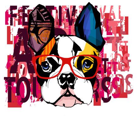 french bulldog: Portrait of french bulldog wearing sunglasses - Vector illustration