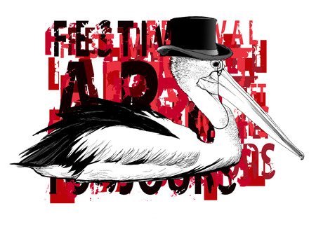 Pelican with top hat and monocle - vector illustration Illustration