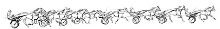 Horse carriage racing - vector illustration