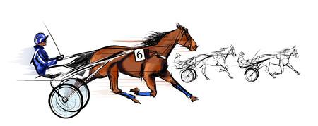 Paard en wagen racing - vector illustratie Vector Illustratie