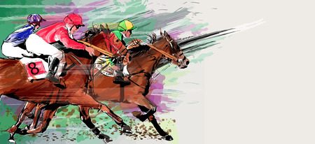 Horse racing over grunge background - Vector illustration Stock Illustratie