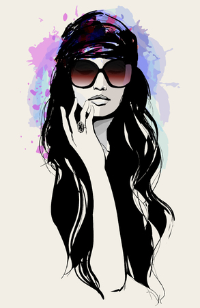 Drawing of a beautiful woman with sunglasses - vector illustration