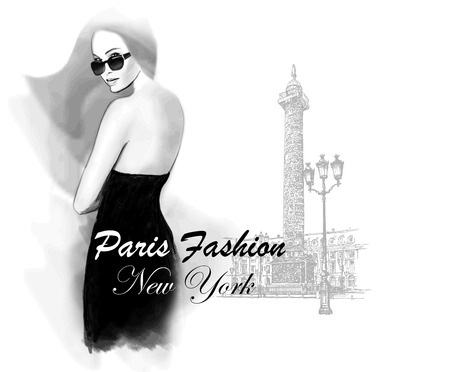 black fashion model: Young woman fashion model place vendome in Paris - Vector illustration