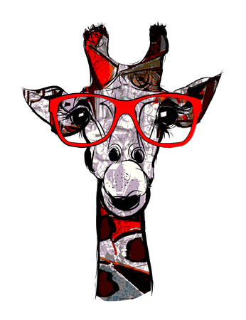 sketch drawing: Giraffe with sunglasses - vector illustration Illustration