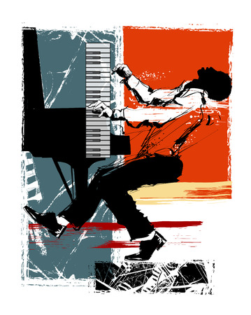 Jazz pianist on a grunge background - vector illustration Illustration
