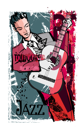Man playing guitar over a grunge background - vector illustration Illustration