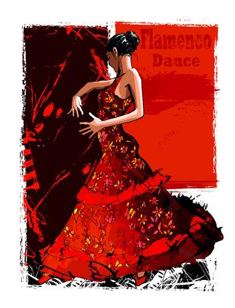 Flamenco spanish dancer woman - vector illustration Vettoriali