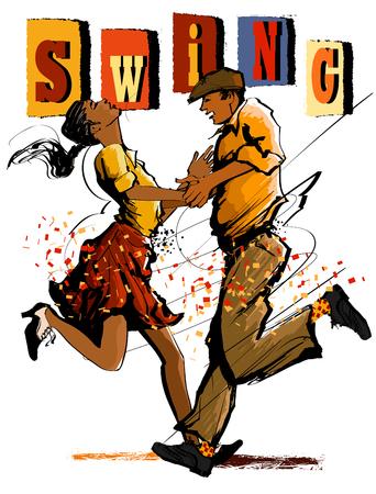 Woman and man dancing swing - vector illustration