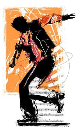 trompetista de jazz - ilustración vectorial Ilustración de vector