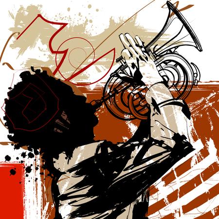 Trumpet player - vector illustration