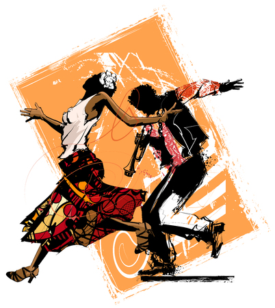 Woman dancing with a trumpet player - vector illustration Illustration