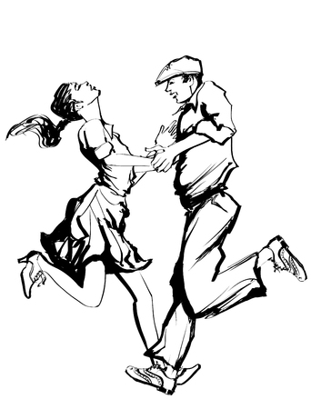 Woman and man dancing swing - vector illustration