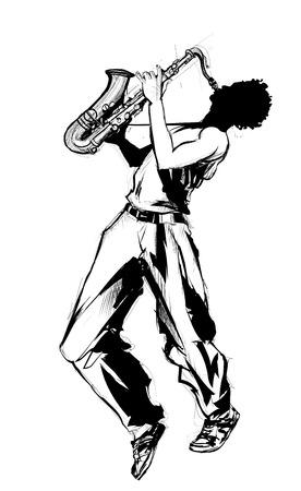 Jazz saxophone player - vector illustration