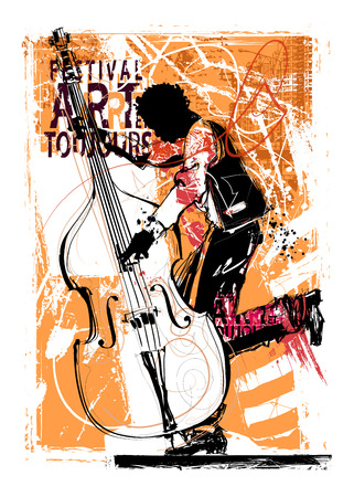 Double bass player - vector illustration Illustration