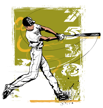 Baseball hitter Swinging  - vector illustration