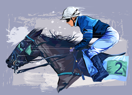 Horse with jockey on grunge background - vector illustration Vettoriali