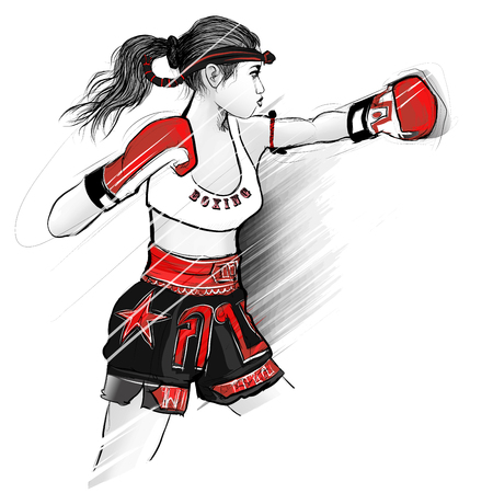 Thai boxing, woman fighting - vector illustration