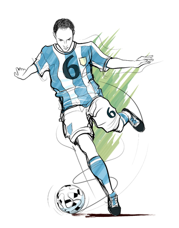 Soccer player in action - vector illustration Illustration