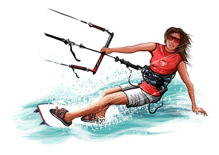 Young woman kiteboarding - vector illustration