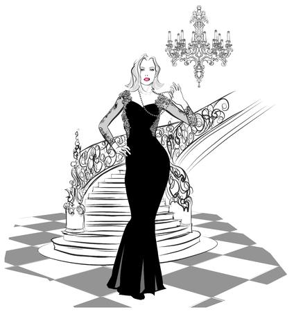 celebrities: beautiful woman in evening dress - vector illustration Illustration