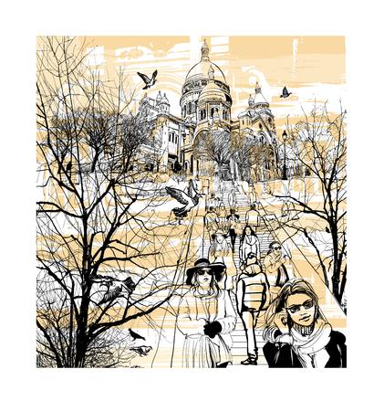 sights: Basilica Sacre Coeur at Montmartre in Paris, France - vector illustration Illustration