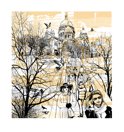 Basilica Sacre Coeur at Montmartre in Paris, France - vector illustration Illustration