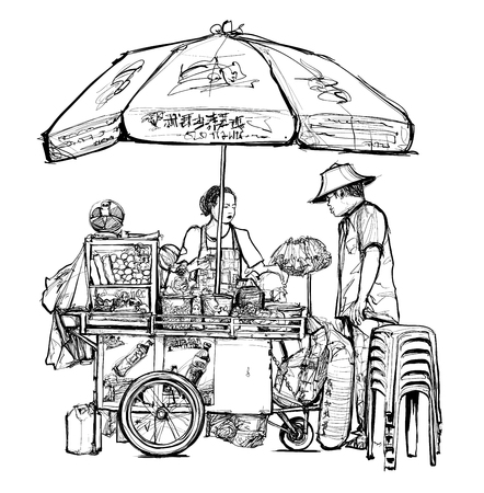 Street food seller in Bangkok (street, food, thailand) - vector illustration Ilustração