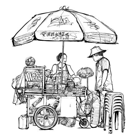 Street food seller in Bangkok (street, food, thailand) - vector illustration Stock Illustratie