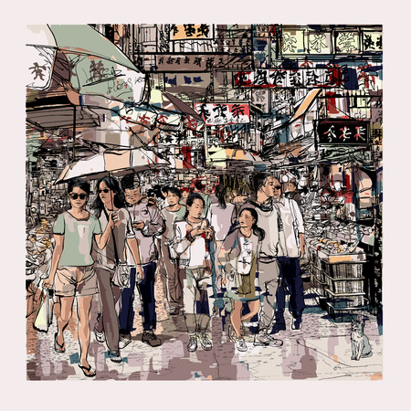 Hong Kong, people in a street - vector illustration Stock Illustratie