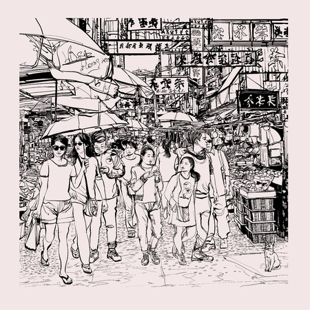 Hong Kong, people in a street - vector illustration  イラスト・ベクター素材