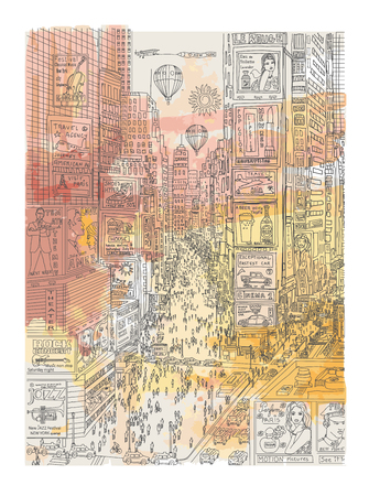 new york city times square: View of times square in New York (all ads are imaginary) - vector illustration