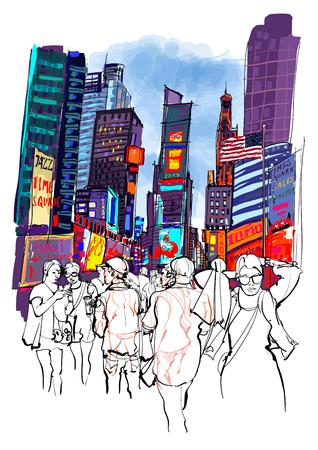Times Square en Nueva York - ilustración vectorial Foto de archivo - 83361821
