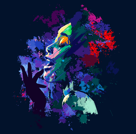 Afro american jazz singer on grunge background - vector illustration
