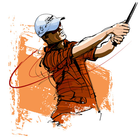 Golf player with cap and sunglasses- vector illustration