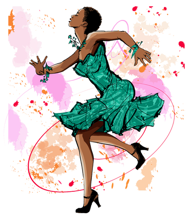 Beautiful black woman dancing - vector illustration